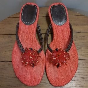Cole Haan Coral Beaded Knit Sole Thong Sandals
